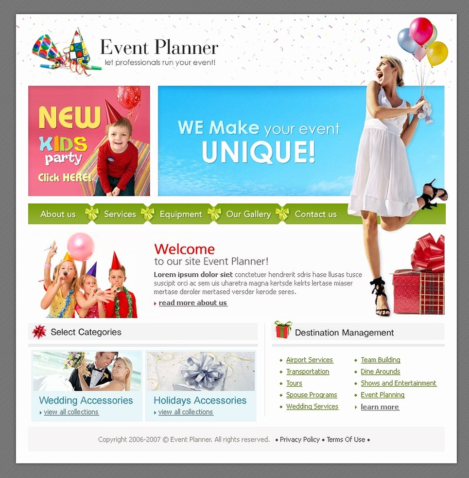 Event Planner Website Template Awesome event Planner Website Template
