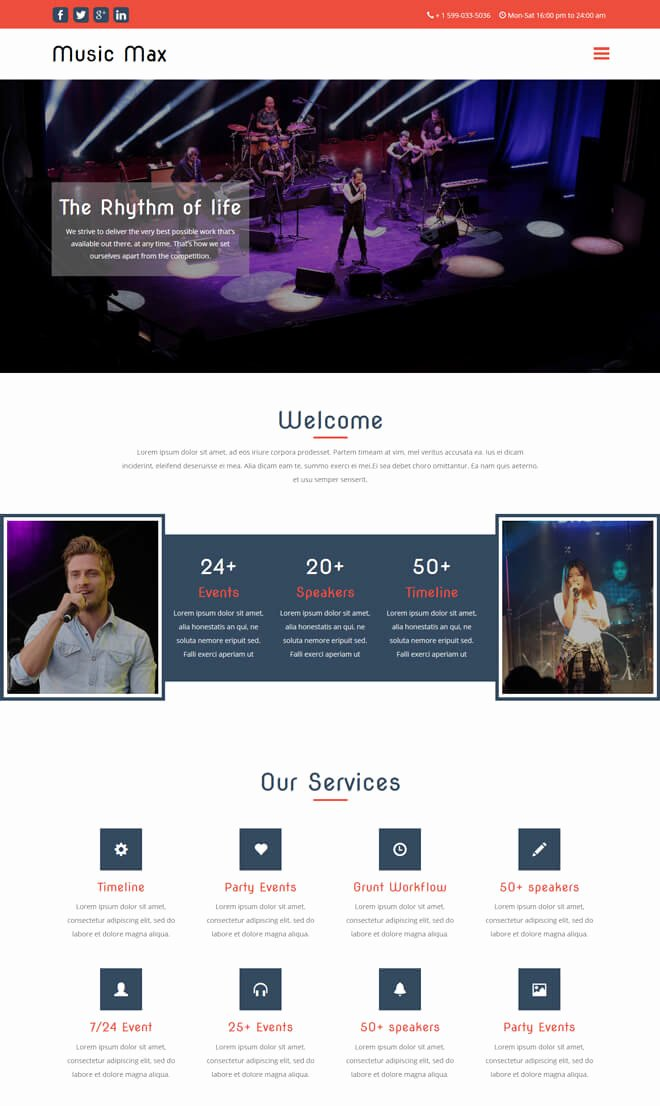 Event Planner Website Template Inspirational Free event Bootstrap Template List Of Best Quality HTML5