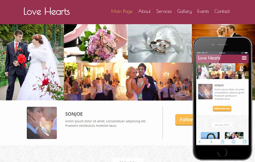 Event Planner Website Template Luxury Love Hearts A Wedding Planner Flat Bootstrap Responsive