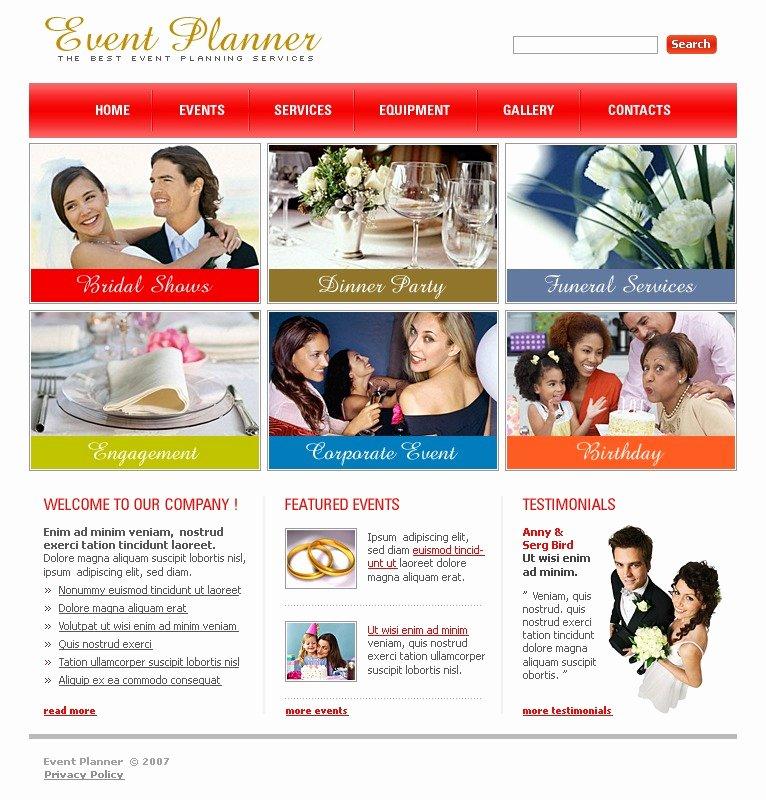 Event Planner Website Template New event Planner Website Template