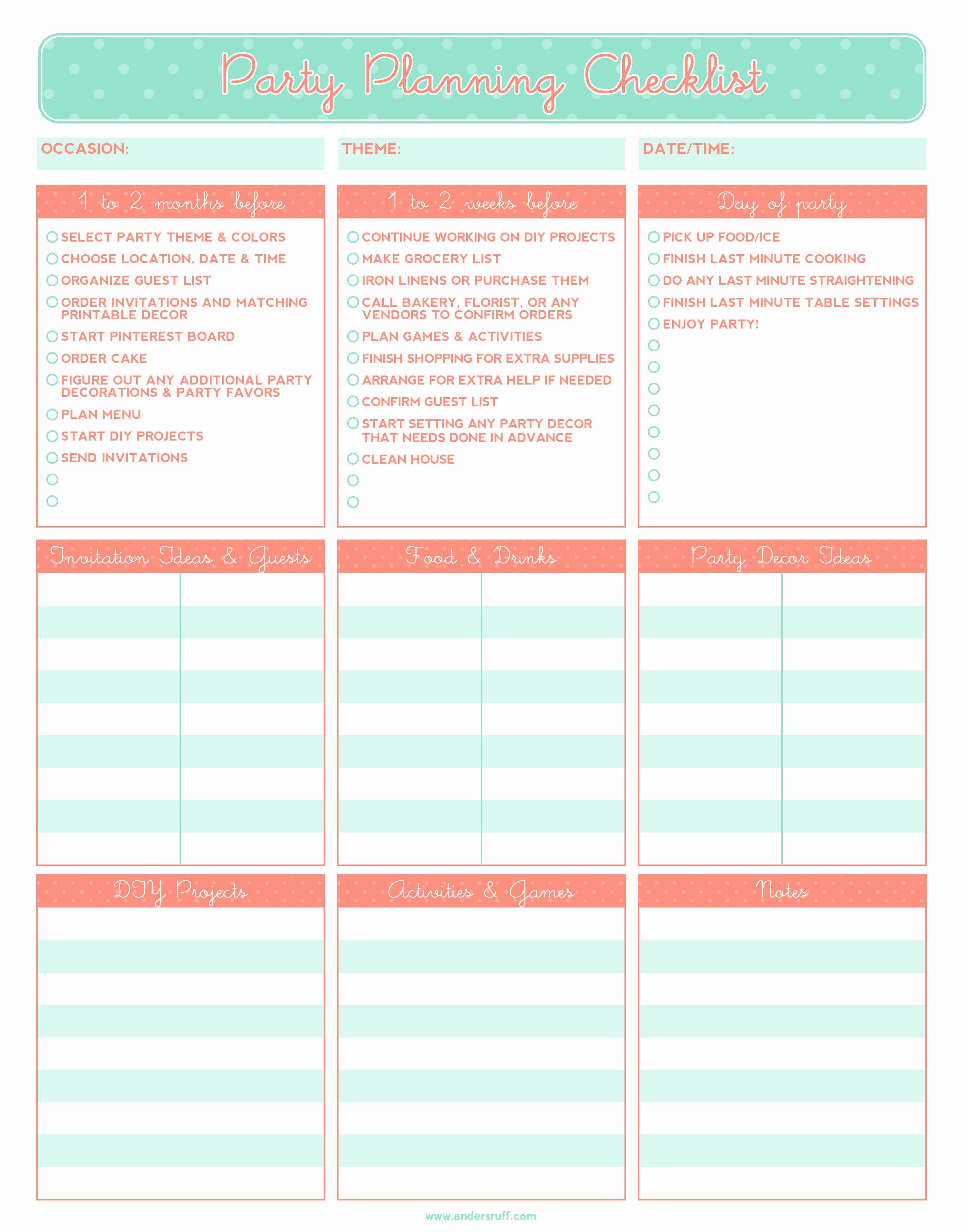 Event Planner Website Template Unique 5 Party Planning Templates Excel Xlts
