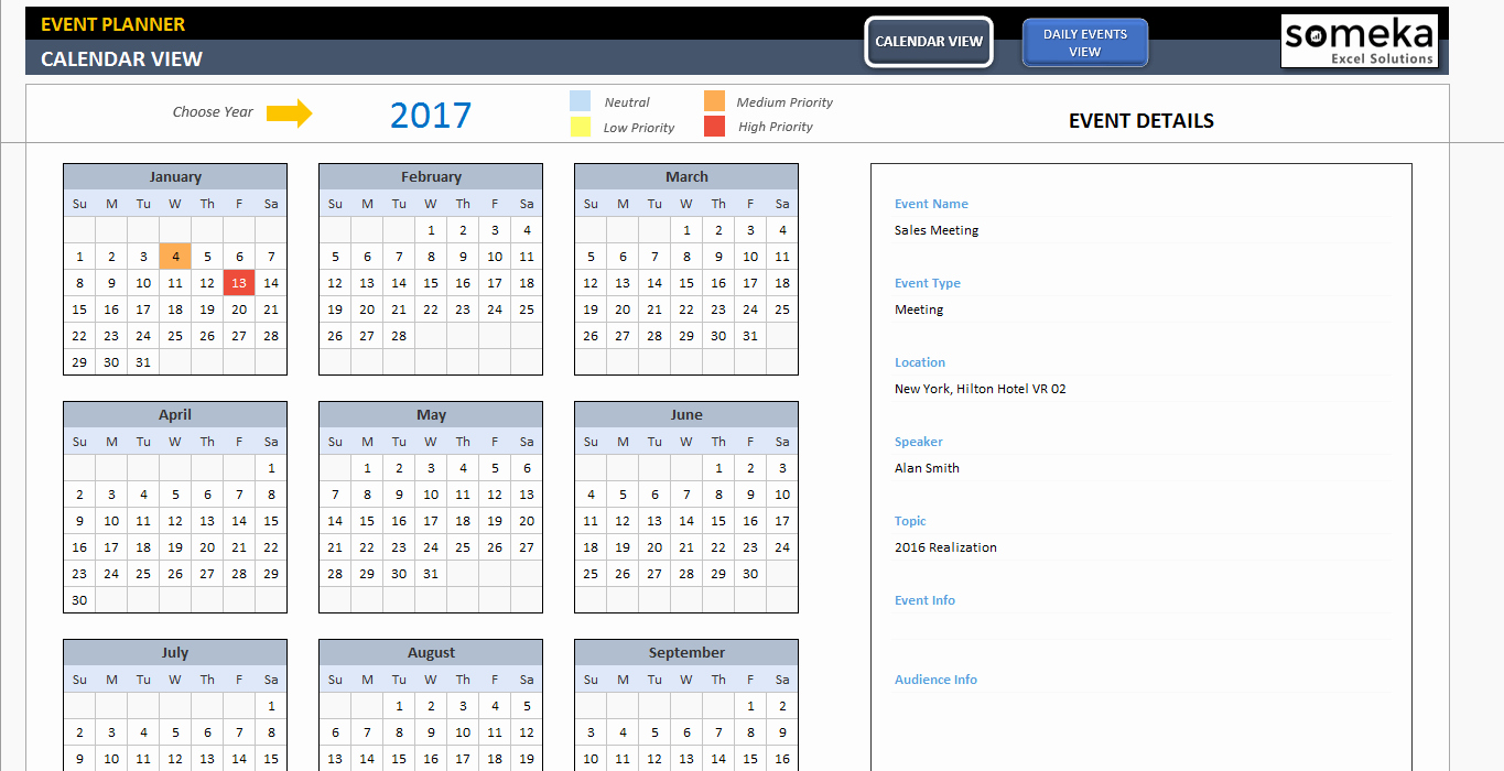 Event Planning Calendar Template Beautiful Dynamic event Calendar Interactive Excel Tempate