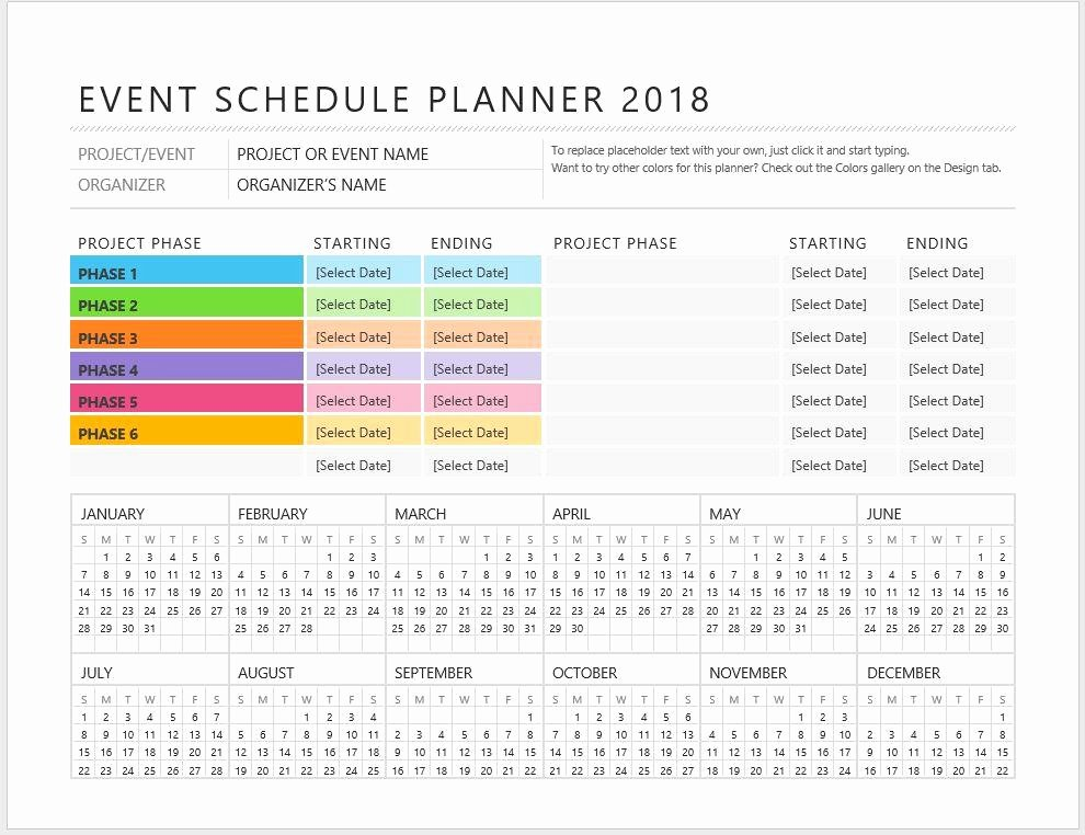 Event Planning Calendar Template Fresh event Planner Schedule Template – Starters