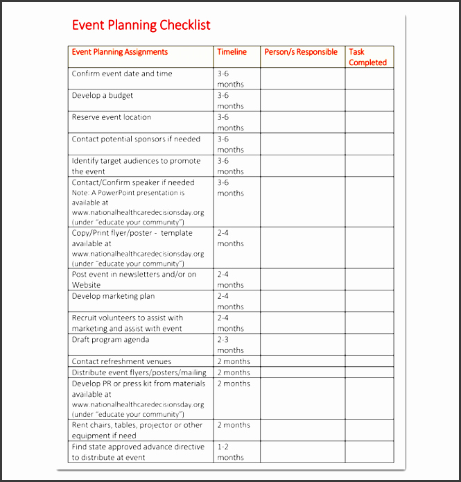 Event Planning Checklist Template Excel Best Of 10 Church event Planning Checklist Example