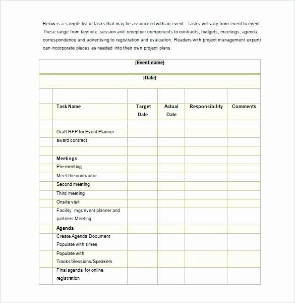 Event Planning Checklist Template Excel Elegant event Planning Template Excel Inspirational Conference