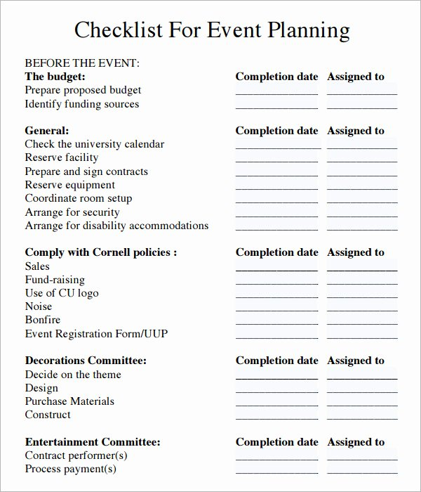 Event Planning Checklist Template Excel Unique 11 Sample event Planning Checklists – Pdf Word