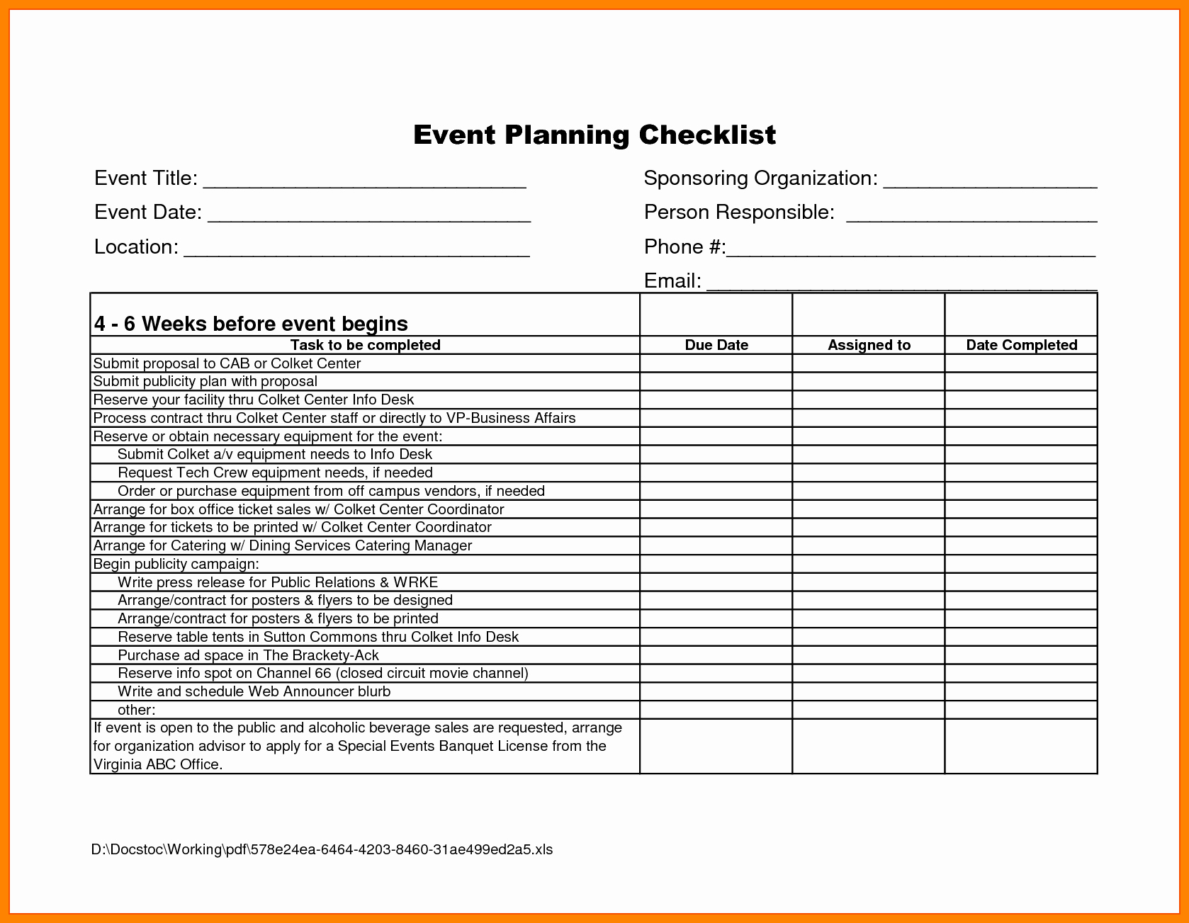 Event Planning Checklist Template Excel Unique event Planning Proposal Sample Portablegasgrillweber