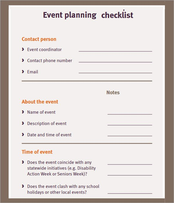 Event Planning Checklist Template Inspirational 11 Sample event Planning Checklists – Pdf Word