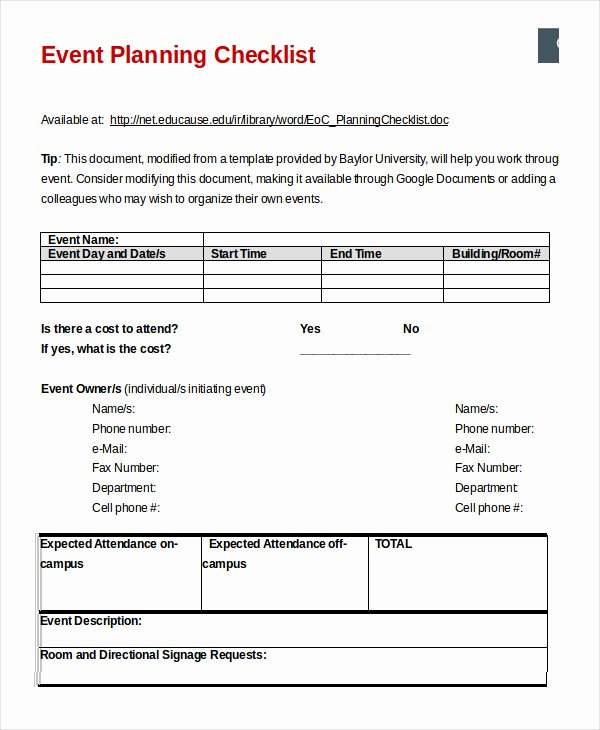 Event Planning Checklist Template Lovely event Planning Checklist 11 Free Word Pdf Documents