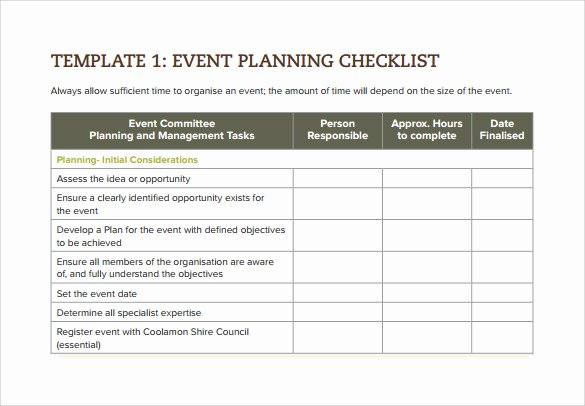 Event Planning Checklist Template New 7 event Checklist Templates