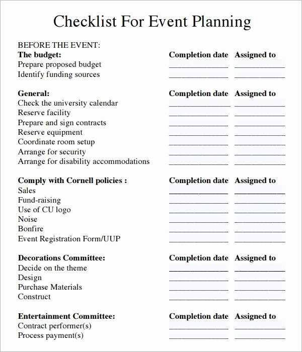 Event Planning Checklist Template New event Planning Checklist Pdf Ministry