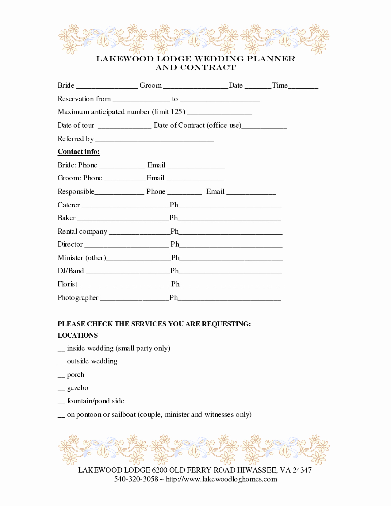 Event Planning Contract Template Awesome 7 Best Of Printable Wedding Planner Contract
