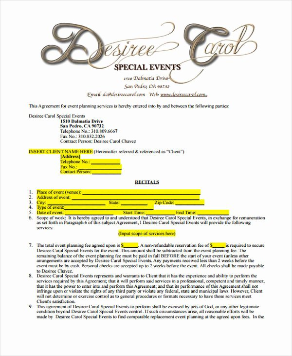 Event Planning Contract Template Beautiful 5 Planner Contract Templates Sample Word Google Docs