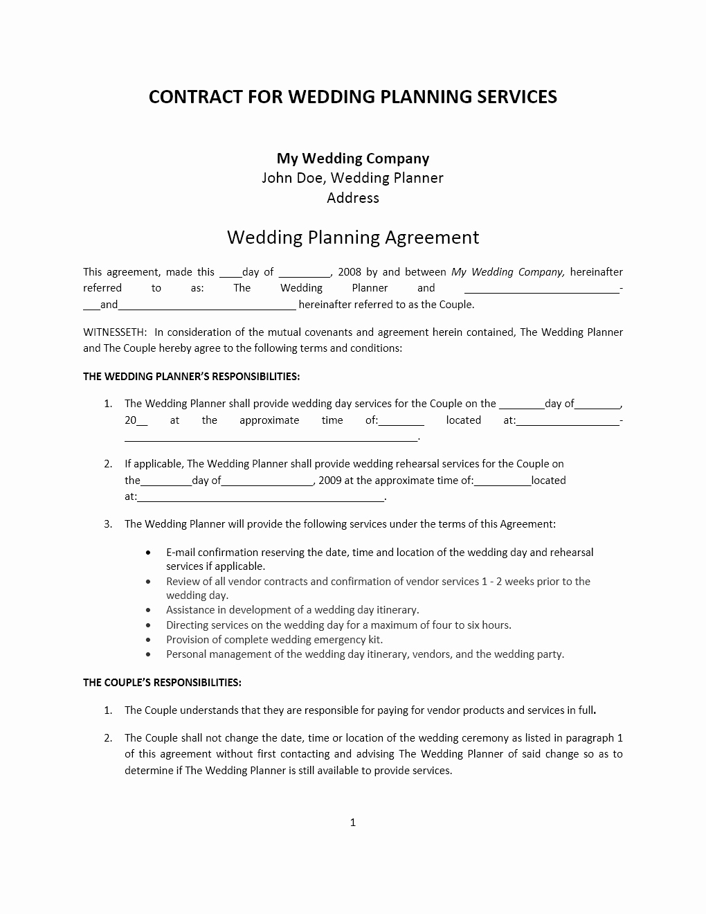 Event Planning Contract Template Beautiful Wedding Planner Contract Template