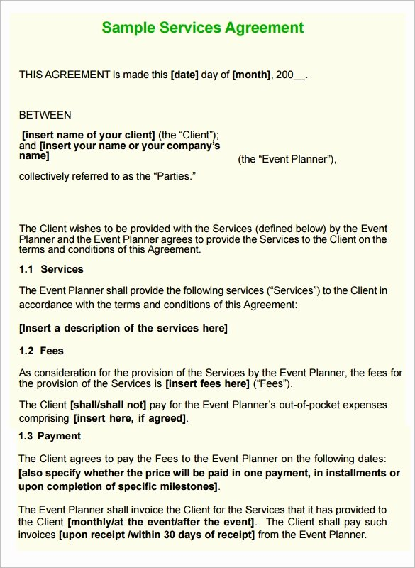 Event Planning Contract Template Best Of 12 Service Contract Templates Pdf Doc
