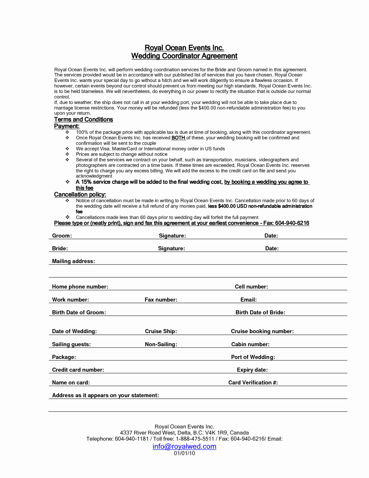 Event Planning Contract Template Elegant 7 Best Of Printable Wedding Planner Contract