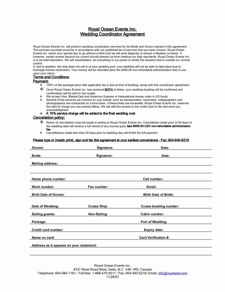 Event Planning Contract Template Elegant Wedding Planner Contract Agreement