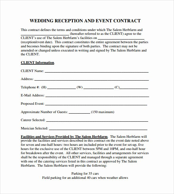 Event Planning Contract Template Free Awesome 19 event Contract Templates to Download for Free