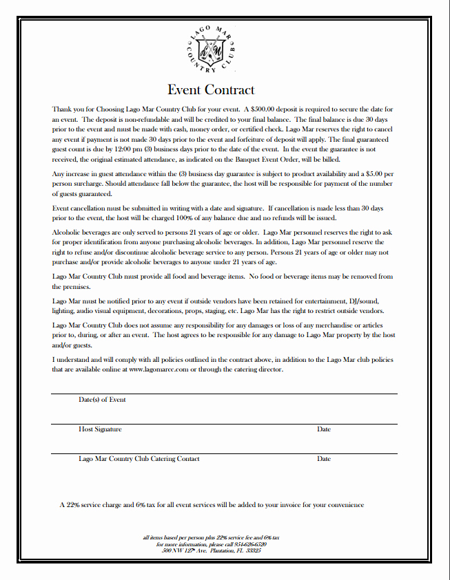 Event Planning Contract Template Free Beautiful event Contract Lago Mar Country Club