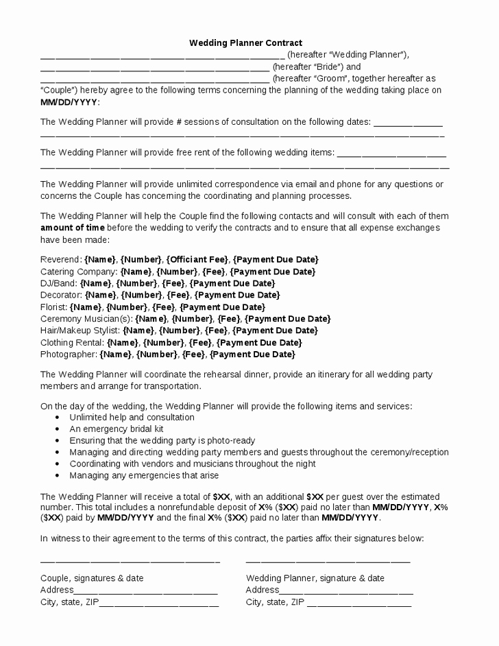 Event Planning Contract Template Free Unique Wedding Planner Contract
