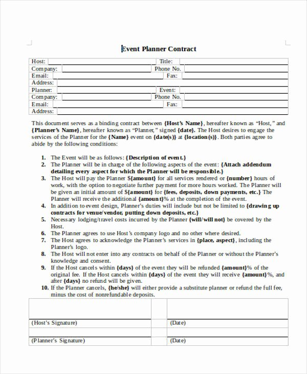 Event Planning Contract Template Inspirational 14 event Planner Contract Samples