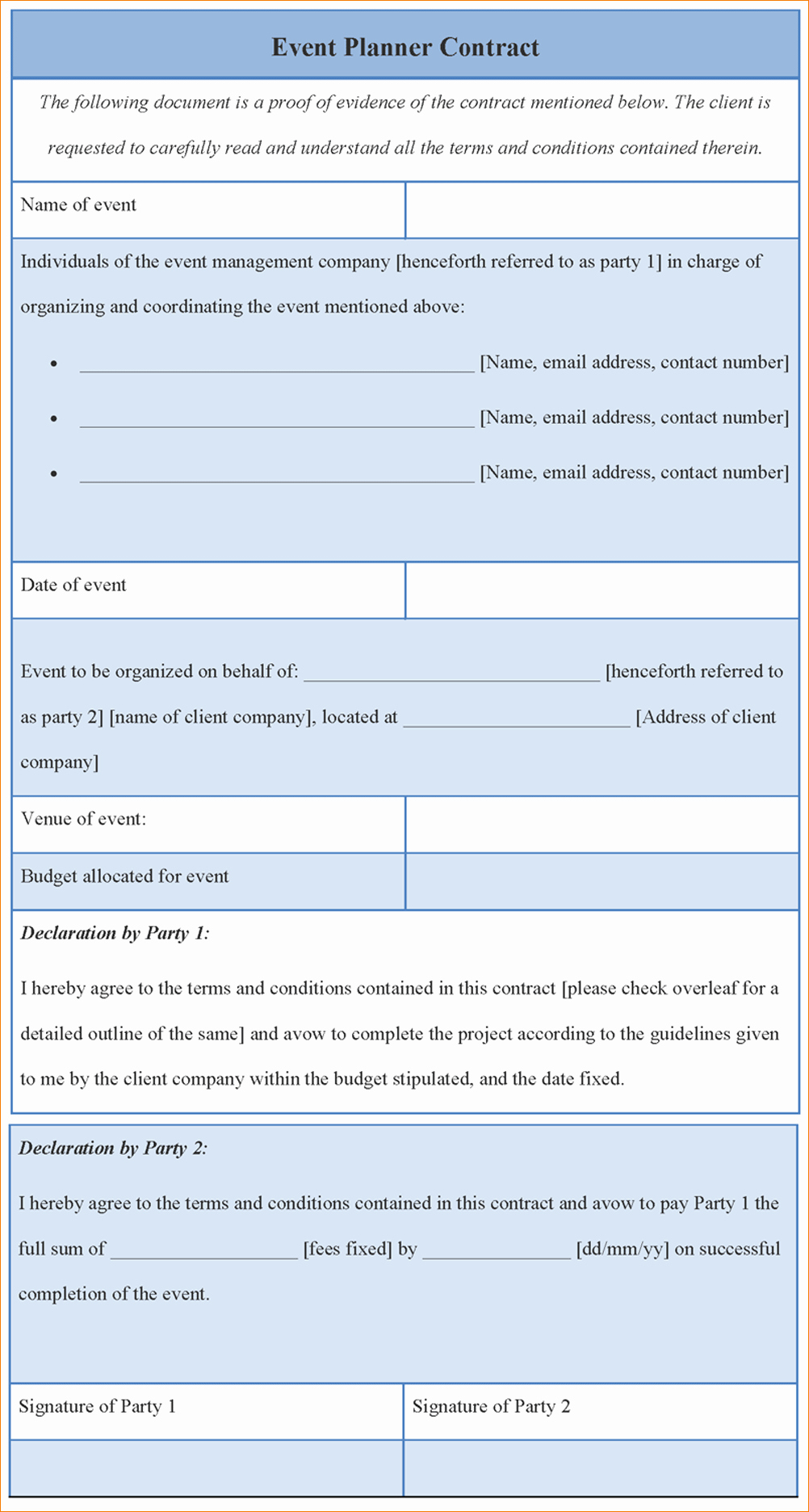 Event Planning Contract Template Lovely 8 event Contract Template