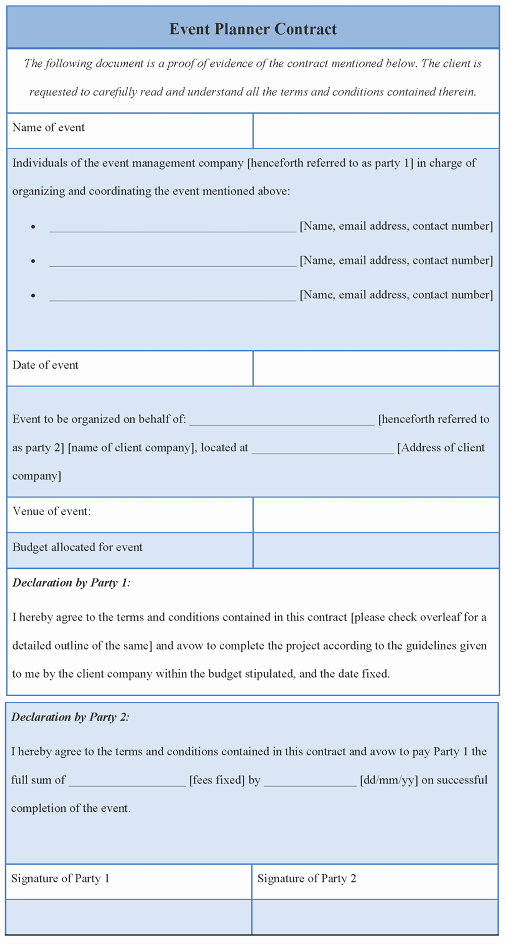 Event Planning Contract Template Luxury Contract Template for event Planner format Of event