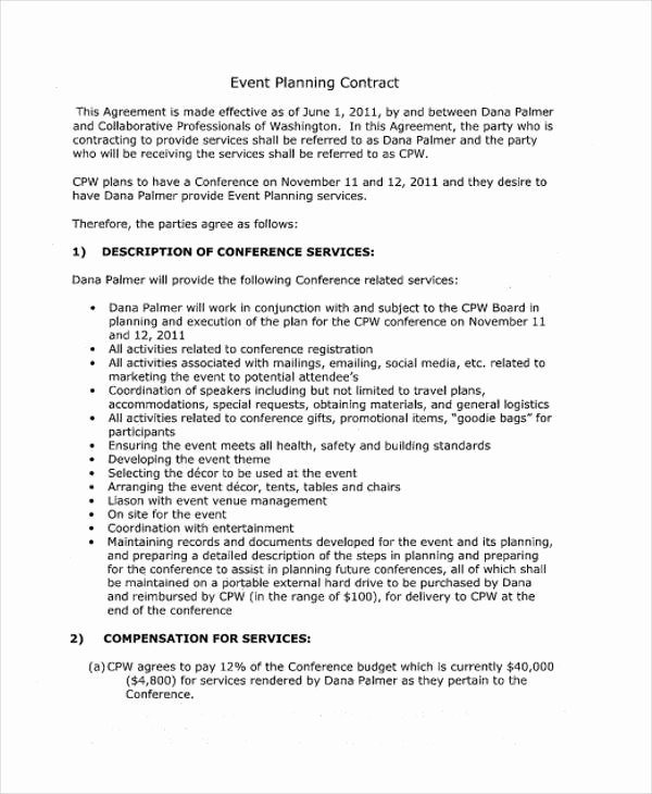 Event Planning Contract Template New 11 event Contract Templates Free Sample Example format