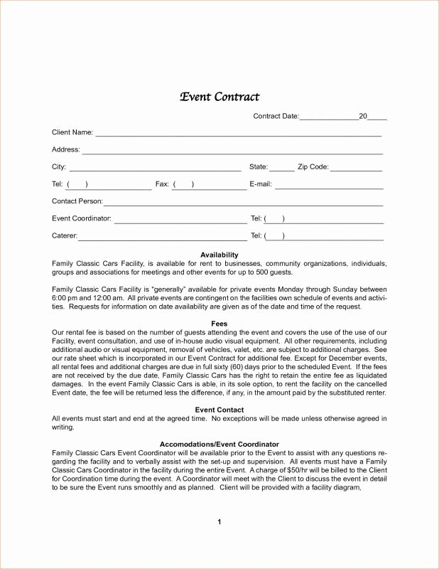 Event Planning Contract Template New Graphy Contract Template