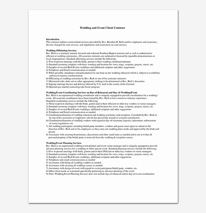 Event Planning Contract Template Unique event Contract Template 19 Samples Examples In Word