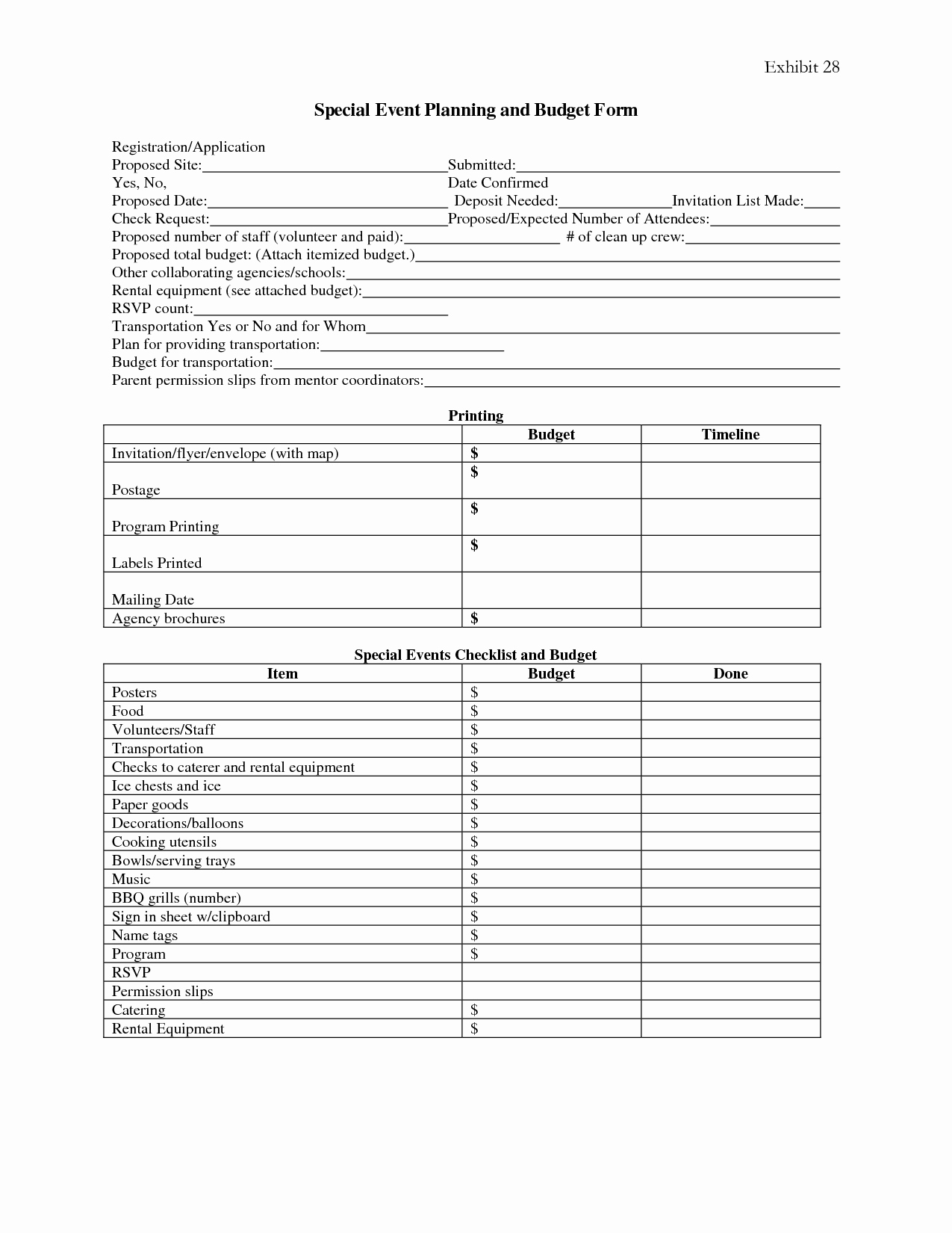 Event Planning Document Template Awesome 7 Best Of event Planning forms Free Printable