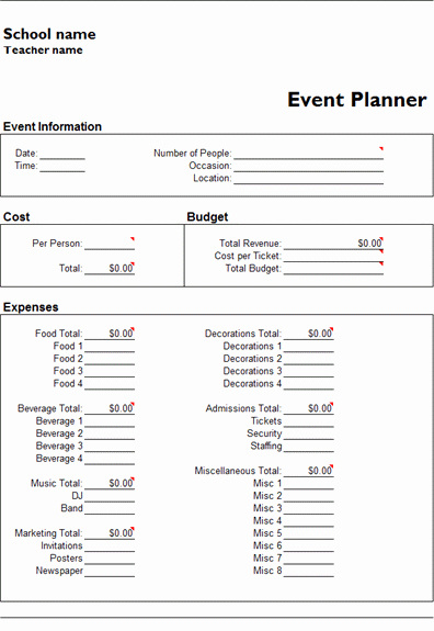 Event Planning Document Template Awesome Ms Excel event Planner Template