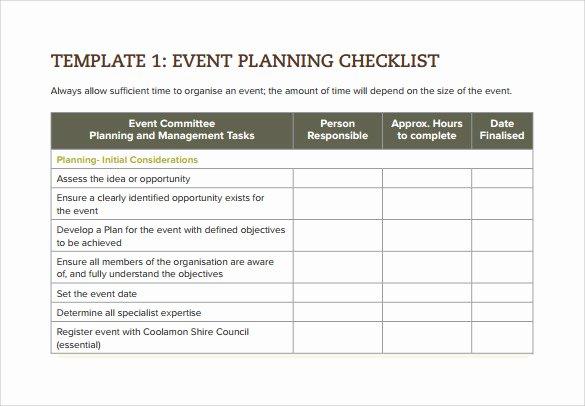 Event Planning form Template Elegant 7 event Checklist Templates