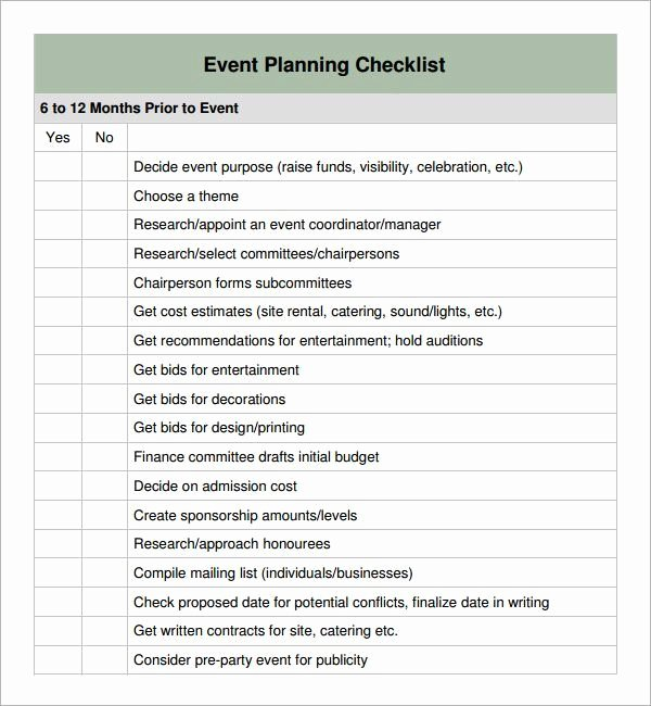 Event Planning form Template Fresh Special event Planning Checklist