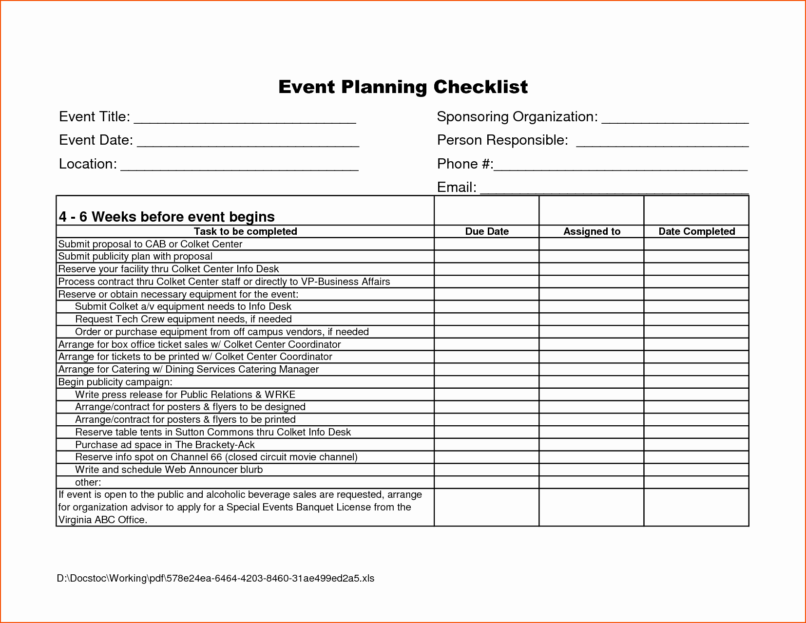 Event Planning form Template New 7 event Checklist Template Bookletemplate