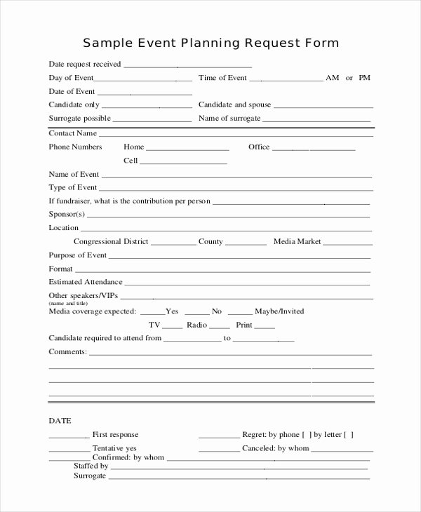 Event Planning form Template Unique event Request form Sample forms