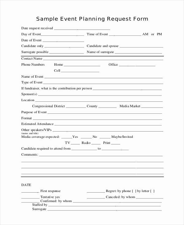 Event Planning form Template Unique event Request form Sample forms
