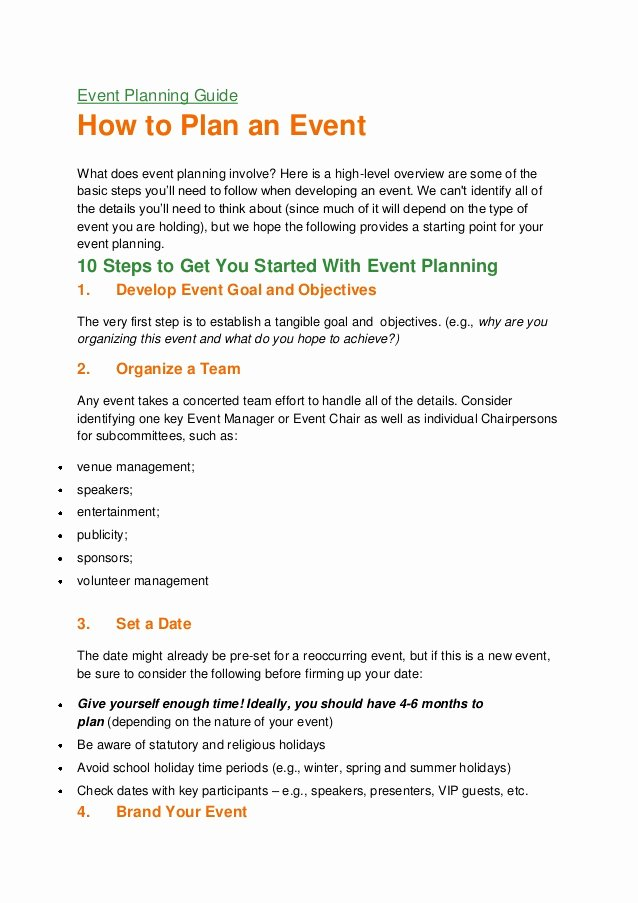 Event Planning Guide Template Best Of event Planning Guide