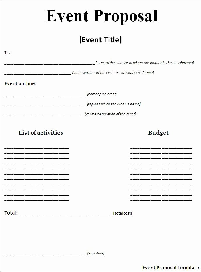 Event Planning Proposal Template Beautiful event Proposal Template