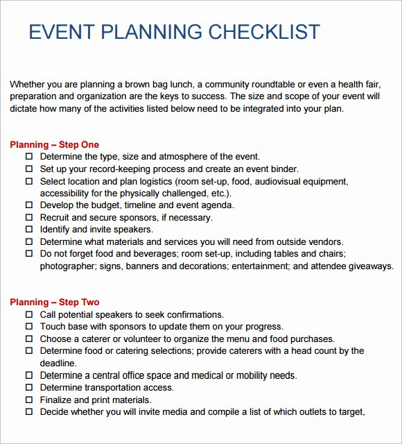 Event Planning Proposal Template New 13 Sample event Planning Checklist Templates