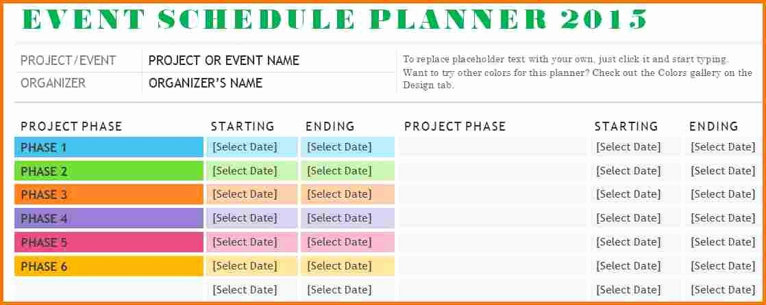 Event Planning Schedule Template Awesome event Schedule Template