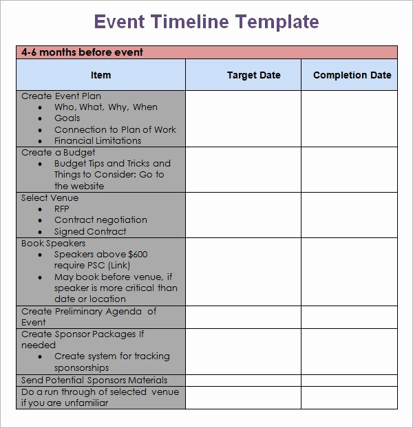 Event Planning Schedule Template Beautiful 10 event Timeline Templates for Free Download