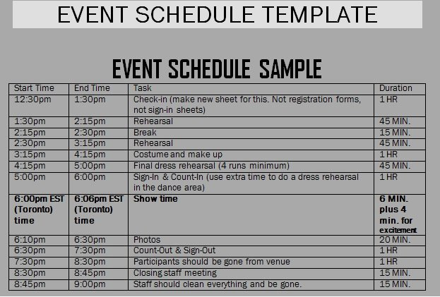 Event Planning Schedule Template Inspirational event Schedule Templates Word Excel Samples