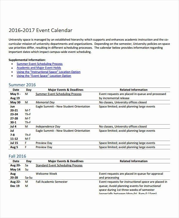 Event Planning Schedule Template Lovely 10 Planning Calendar Template 10 Free Word Pdf format