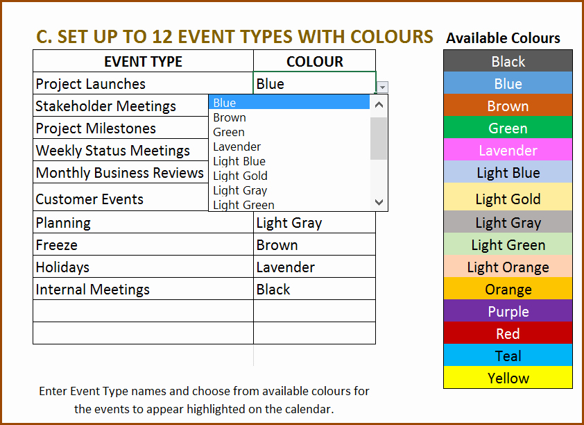 Event Planning Schedule Template New Excel Calendar Template Excel Calendar 2019 2020 or Any