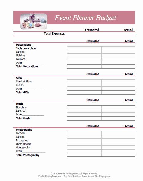 Event Planning Template Free New Free Printable Bud Worksheets