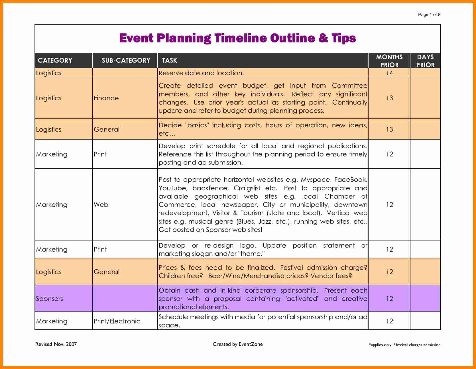 Event Planning Timeline Template Beautiful event Planner Timeline Template