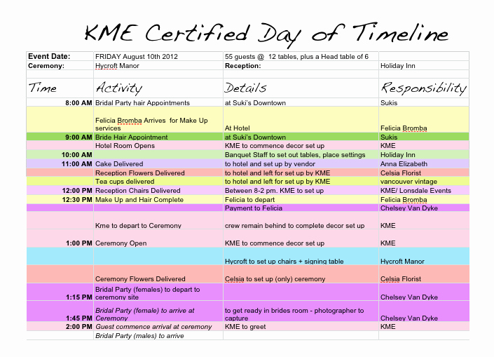 Event Planning Timeline Template New Wedding Day Timeline Template
