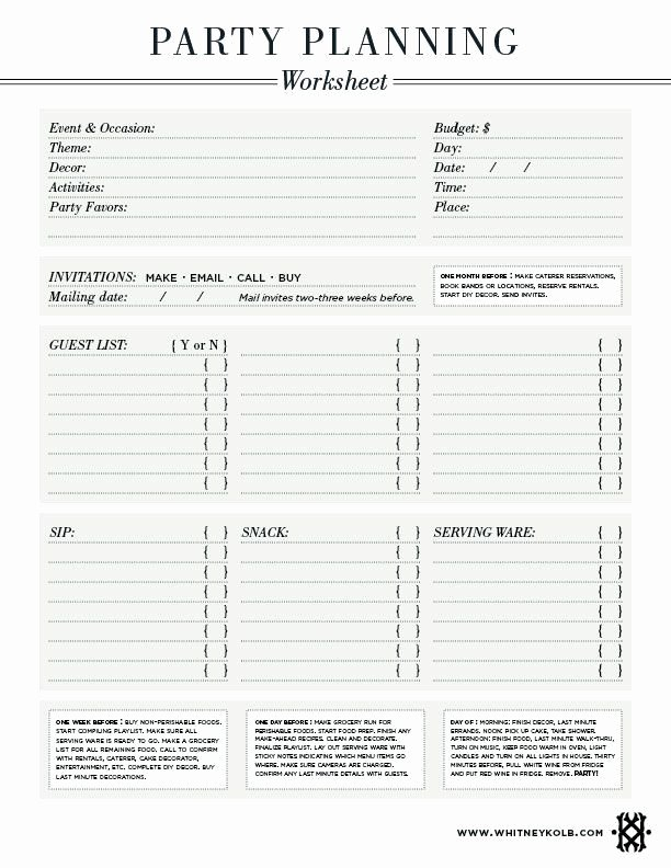 Event Planning Worksheet Template Awesome Party Planning Worksheet Amazing Party Ideas