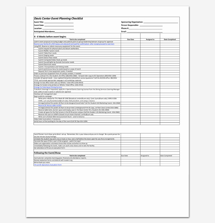 Event Planning Worksheet Template Beautiful event to Do List Template 40 Checklists In Word Excel